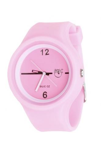 Silic Watch Color Round - růžová