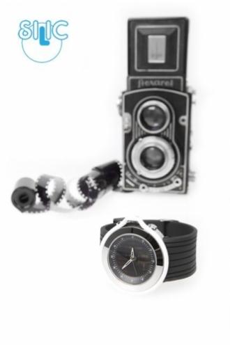 Hodinky Silic Watch Anapol - černé s bílým okrajem