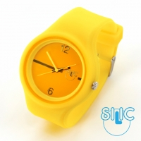 Silic Watch Color Round - žlutá