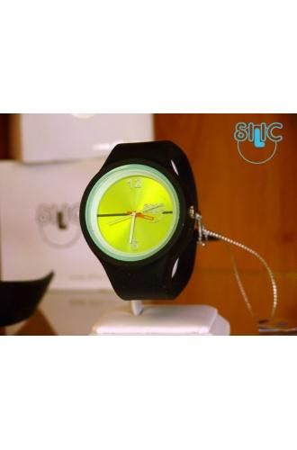 Silic Watch Color Round - zelenočerná