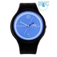 Silic Watch Color Round - modrý ciferník + černý řemínek