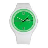Silic Watch Color Round - zelený ciferník + bílý řemínek