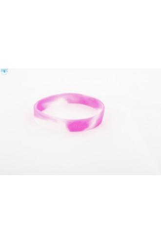 silikonový náramek Silic MIX bílá-růžová - svítící