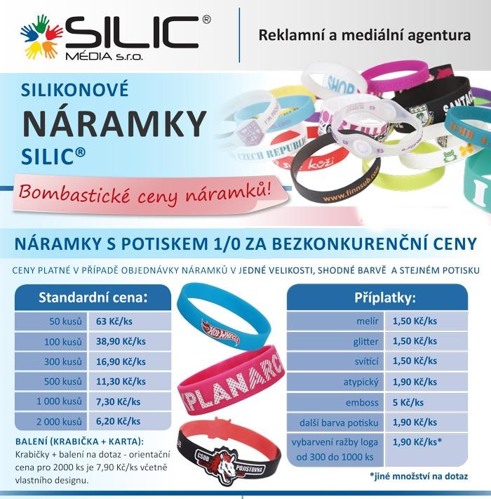 Ceník silikonové náramky